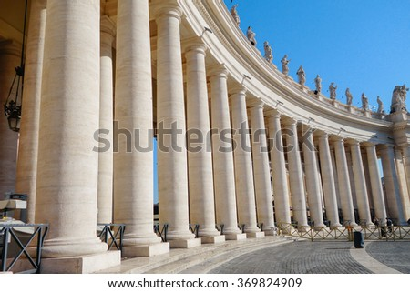 the vatican columns with blue sky and cloud is clear
