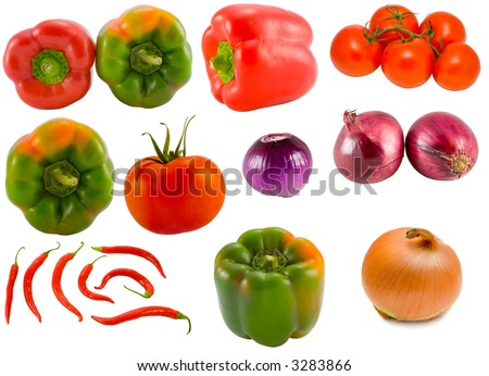 the vegetable collection isolated on white background