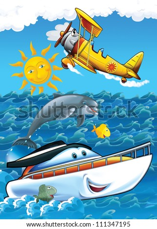 The vehicle and the ship - illustration for the children 2 - stock photo