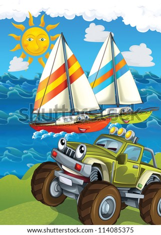 The vehicle and the ship - illustration for the children - stock photo