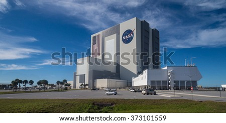 The Vehicle Assembly Building at NASA, Kennedy Space Center in Florida, 13th Januar 2014 - stock photo