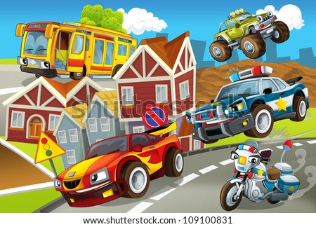 The vehicles in city, urban chaos v 3 - illustration for the children - stock photo