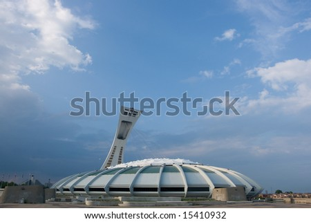 The velodrome and olympic tower of Montreal 1976 Olympic Games