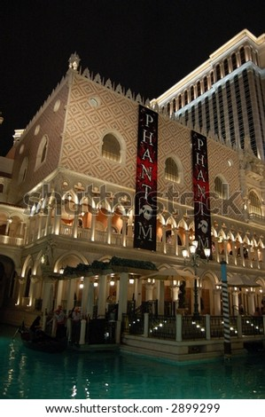 The Venetian Gondolas at Night Featuring Phantom of the Opera - stock photo