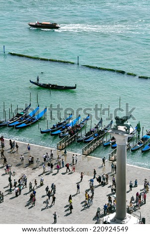 The Venetian lagoon and  St. Mark's Square in Venice, Italy - stock photo