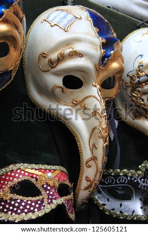 "The venetian mask ""Doctor Pantalone"", a typical mask of the venetian carnival - stock photo"