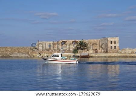 The Venetian port, harbor of Chania, Crete, Greece - stock photo
