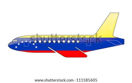 The Venezuelan flag painted on the silhouette of a aircraft. glossy illustration - stock photo