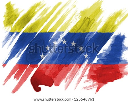 The Venezuelan flag  painted with watercolor on paper - stock photo