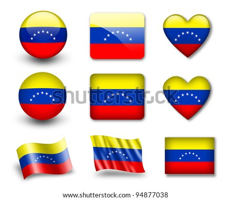 The Venezuelan flag - set of icons and flags. glossy and matte on a white background. - stock photo