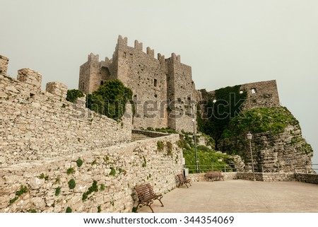The Venus Castle, Erice Sicily. Dating from the Norman period, it was built on top of the ancient Temple of Venus where animals chosen for sacrifice would voluntarily walk up to the altar to be killed - stock photo