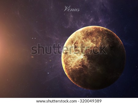 The Venus shot from space showing all they beauty. Extremely detailed image, including elements furnished by NASA. Other orientations and planets available. - stock photo