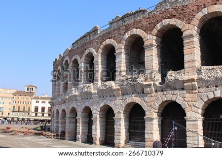 The Verona Arena (Arena di Verona) is a Roman amphitheater at Piazza Bra in Verona, Italy built in first century. - stock photo