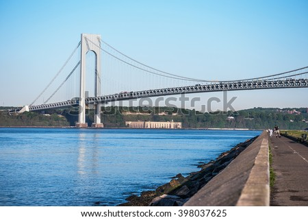 The Verrazano-Narrows Bridge as seen from The Belt Parkway Promenade in Brooklyn. - stock photo