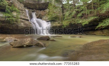 The very beautiful Cedar Falls  in Hocking Hills Ohio. Very popular tourist attraction.