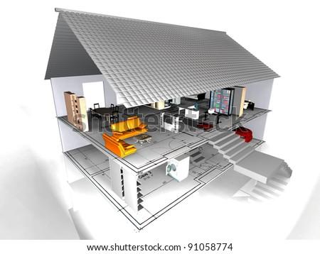 the very beautiful house - stock photo