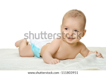 the very  beautiful  little baby , lie on stomach and crawl,  on white background, isolated