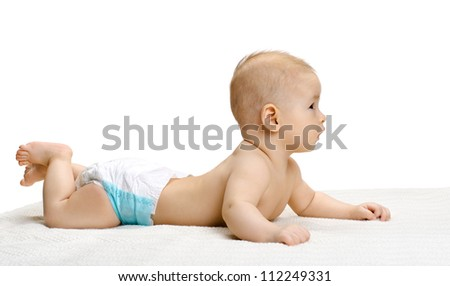 the very  beautiful  little baby , lie on stomach and crawling,  on white background, isolated - stock photo