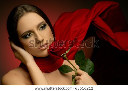 the very  pretty woman with red neckerchief, with rose, sensual sexuality gaze...