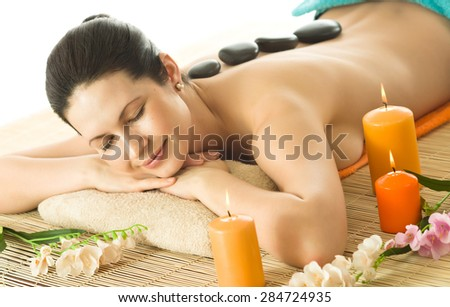 the very  pretty  young woman on spa treatment , horizontal  portrait - stock photo