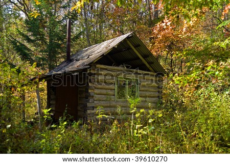 Very Small Cabin Forest Autumn October Stock Photo 39610270