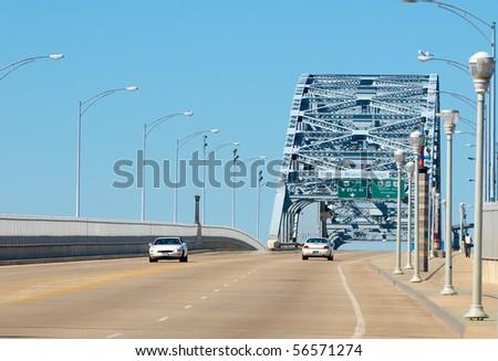 The Veterans' Memorial Bridge (Detroit-Superior) in Cleveland, Ohio, a steel truss high span - stock photo