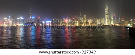 The vibrant city of Hong Kong by night.