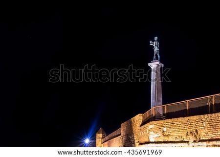 The Victor Monument on Kalemegdan Fortress at night. Belgrade, Serbia. - stock photo