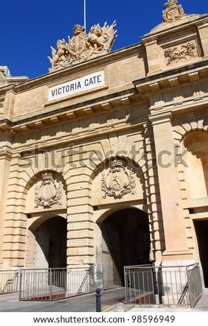 The Victoria gate, one of the entrances to Valletta, capital of Malta - stock photo