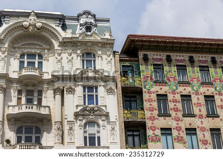 the viennese row houses at the viennese naschmarkt. architecture of otto wagner in vienna, austria - stock photo