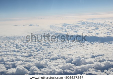 The view from an airplane with clouds