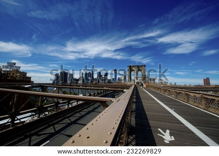 The view from Brooklyn Bridge in New Your City during sunny day - stock photo
