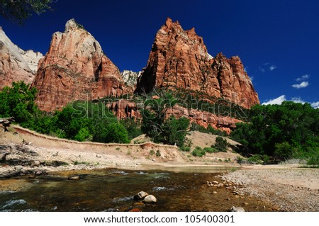 The View from Canyon Junction at Zion - stock photo