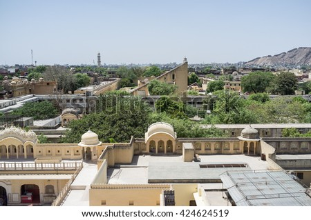 The view from Hawa Mahal to Jantar Mantar, Jaipur, India