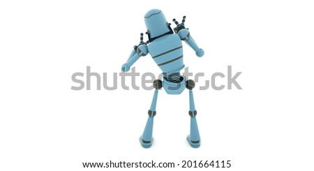 The view from the back of the robot, leaning to the left, 3d render - stock photo