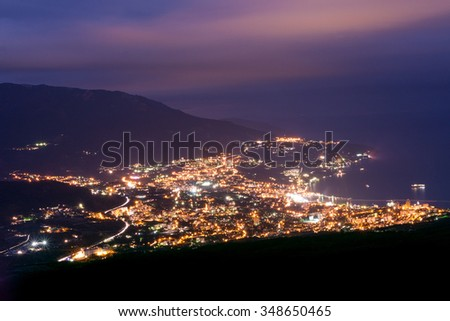 The view from the bird's-eye view of the city Yalta. Night. Crimea. Russia. - stock photo