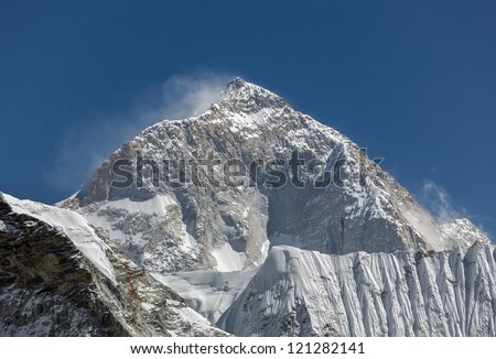 The view from the Chhukhung Ri on the fifth in the world in the height of mount Makalu (8481 m) - Nepal