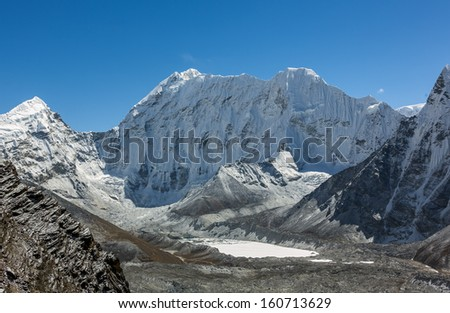 The view from the Chhukhung Ri on the spurs of the Ama Dablam - Everest region, Nepal, Himalayas - stock photo