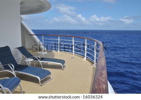 The view from the corner balcony of a cruise ship at sea - stock photo