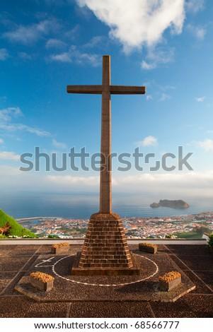 The view from the little church Ermida da Nossa Senhora da Paz near Vila Franca do Campo at Sao Miguel (Azores) - stock photo