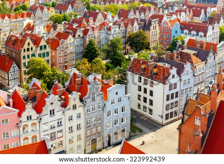 The view from the observation deck of St Mary's Cathedral in the historic center of Gdansk. - stock photo
