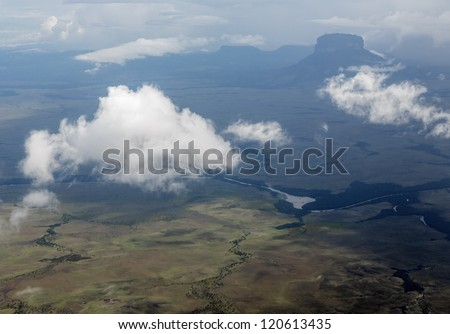 The view from the plane of the Gran Sabana region - Venezuela, South America