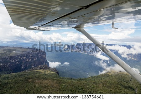 The view from the plane of the source of the river supply Angel Falls (Salto Angel) is worlds highest waterfalls (978 m) - Venezuela, South America - stock photo