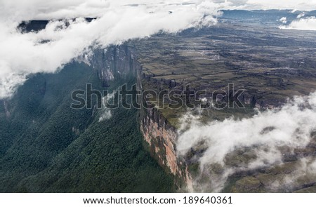 The view from the plane of the tepui in Canaima National Park - Venezuela, South America  - stock photo