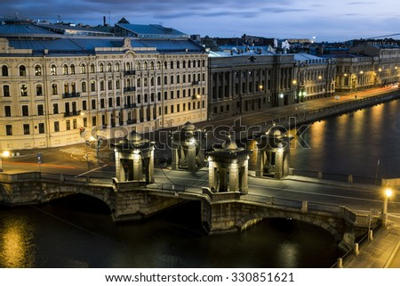 The view from the roof height to the bridge of Lomonosov over the river  Fontanka in St. Petersburg.Russia.