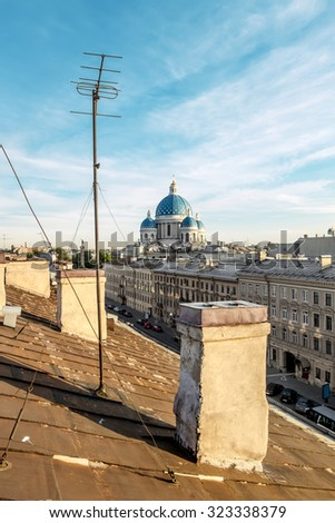 The view from the roof to the Trinity Izmailovsky Cathedral in St. Petersburg.Russia.