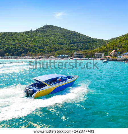 The view from the sea and speed boat in Tawaen beach, Koh larn Island, Pattaya, Thailand - stock photo