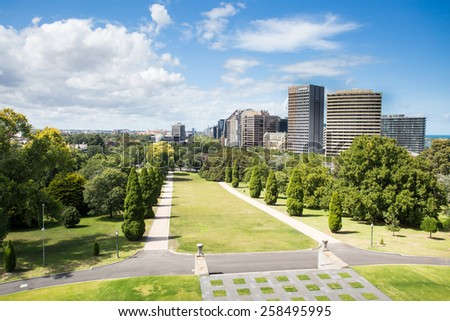 The view from the Shrine of Remembrance looking south towards St Kilda on a hot summer's day - stock photo