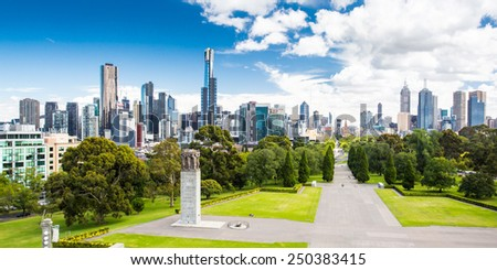 The view from the Shrine of Remembrance towards Melbourne CBD on a hot summer's day - stock photo