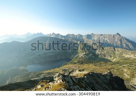 The view from the top in the Tatra Mountains, Carpathians. - stock photo